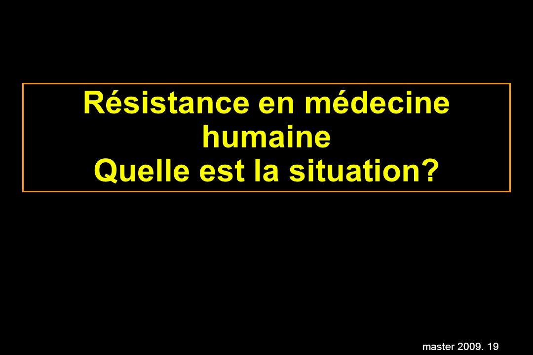 master 2009. 19 Résistance en médecine humaine Quelle est la situation?