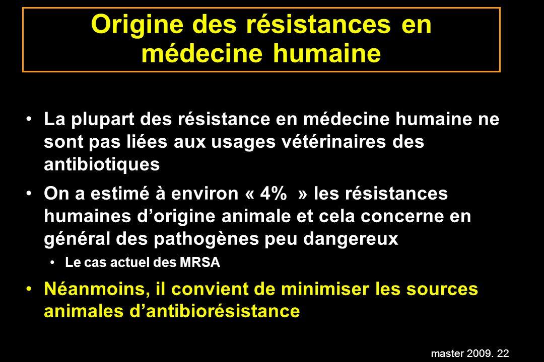 master 2009. 22 Origine des résistances en médecine humaine La plupart des résistance en médecine humaine ne sont pas liées aux usages vétérinaires de