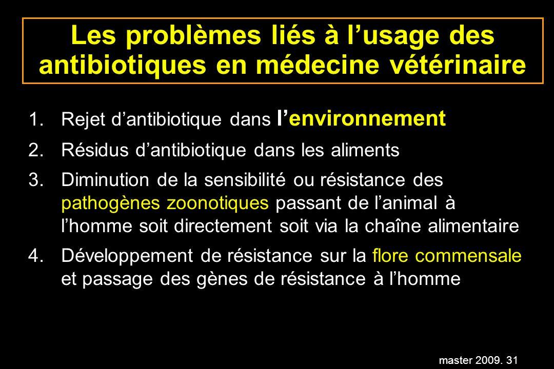 master 2009. 31 Les problèmes liés à lusage des antibiotiques en médecine vétérinaire 1.Rejet dantibiotique dans lenvironnement 2.Résidus dantibiotiqu