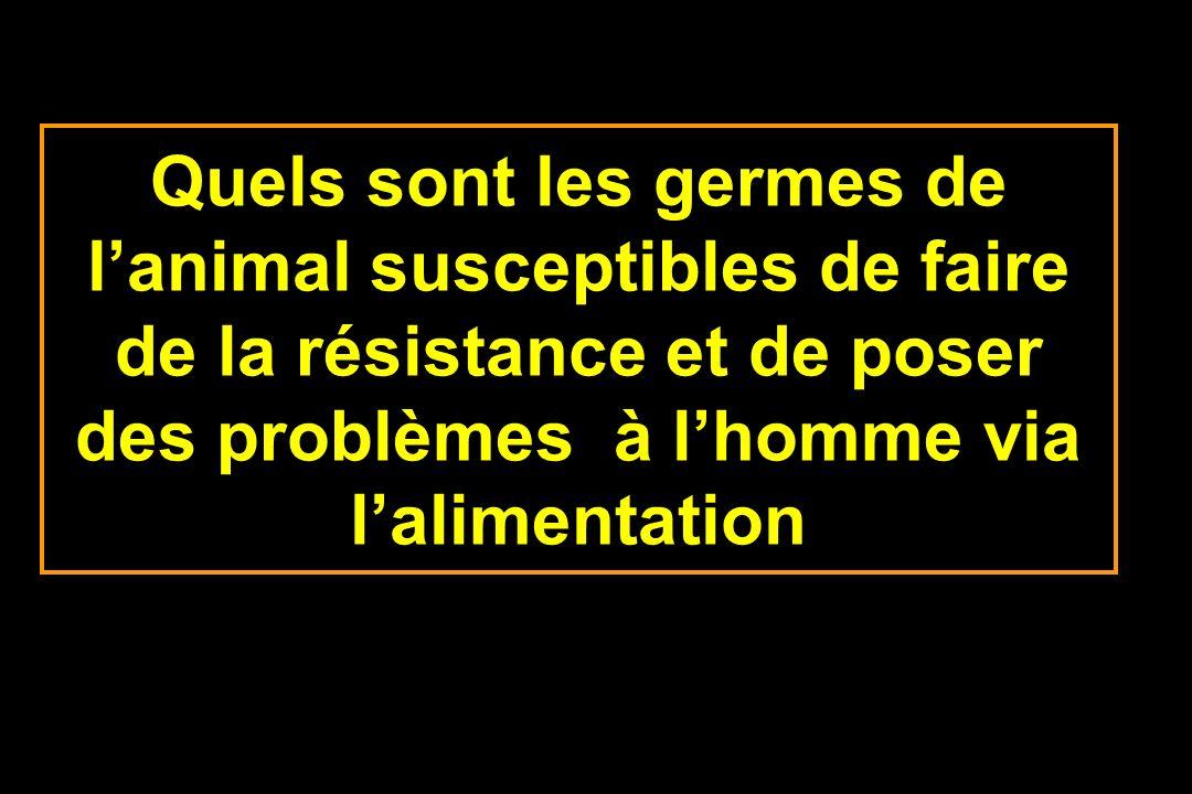 Quels sont les germes de lanimal susceptibles de faire de la résistance et de poser des problèmes à lhomme via lalimentation
