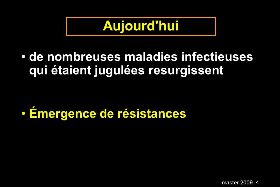 master 2009. 4 Aujourd'hui de nombreuses maladies infectieuses qui étaient jugulées resurgissent Émergence de résistances