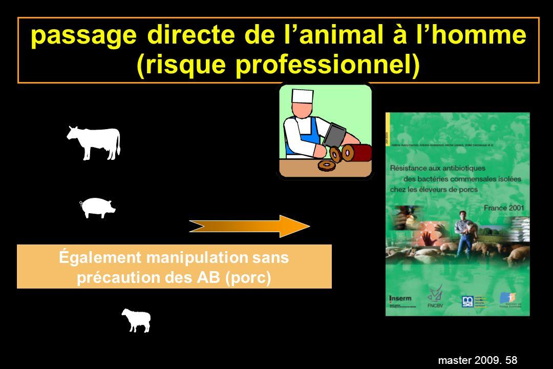 master 2009. 58 passage directe de lanimal à lhomme (risque professionnel) Également manipulation sans précaution des AB (porc)