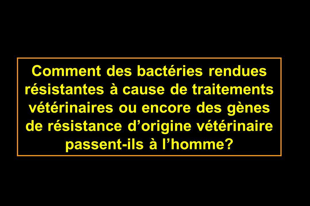 Comment des bactéries rendues résistantes à cause de traitements vétérinaires ou encore des gènes de résistance dorigine vétérinaire passent-ils à lho