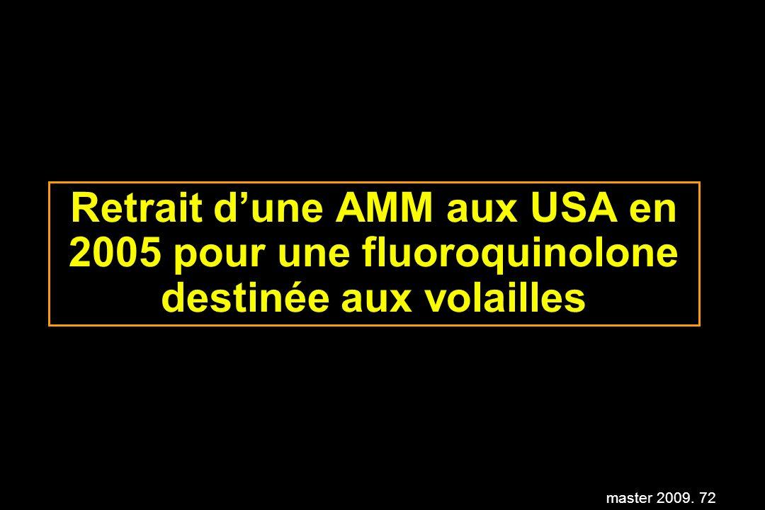 master 2009. 72 Retrait dune AMM aux USA en 2005 pour une fluoroquinolone destinée aux volailles