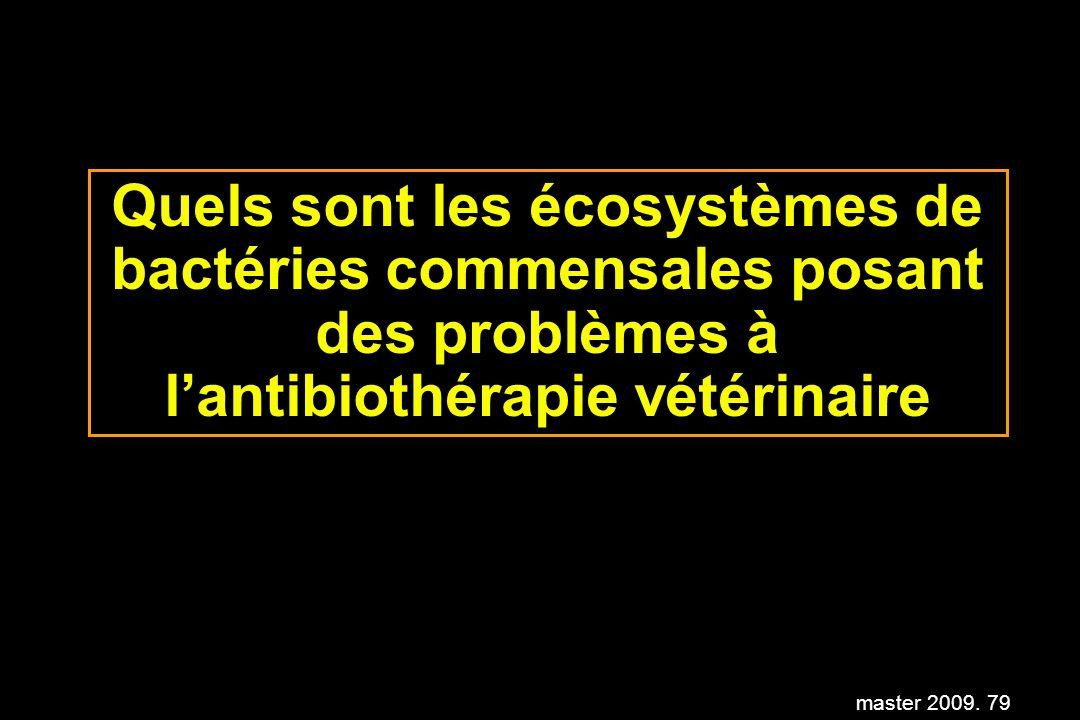 master 2009. 79 Quels sont les écosystèmes de bactéries commensales posant des problèmes à lantibiothérapie vétérinaire