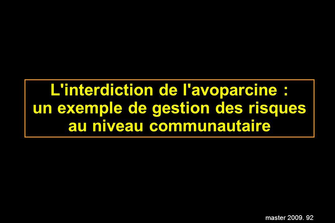 master 2009. 92 L'interdiction de l'avoparcine : un exemple de gestion des risques au niveau communautaire