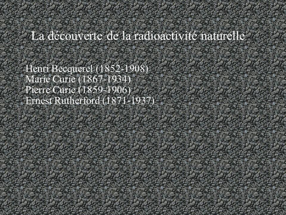 La découverte de la radioactivité naturelle Henri Becquerel (1852-1908) Marie Curie (1867-1934) Pierre Curie (1859-1906) Ernest Rutherford (1871-1937)