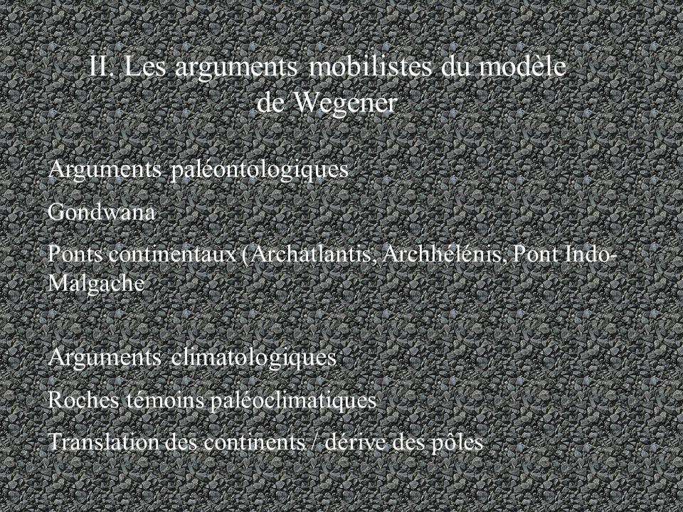 II. Les arguments mobilistes du modèle de Wegener Arguments paléontologiques Gondwana Ponts continentaux (Archatlantis, Archhélénis, Pont Indo- Malgac