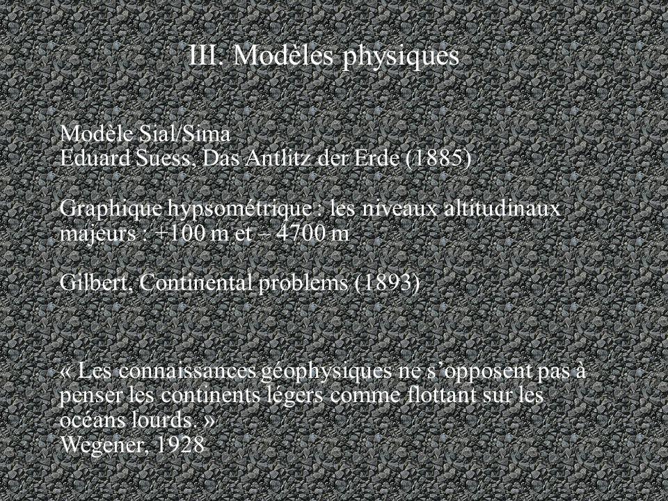 III. Modèles physiques Modèle Sial/Sima Eduard Suess, Das Antlitz der Erde (1885) Graphique hypsométrique : les niveaux altitudinaux majeurs : +100 m