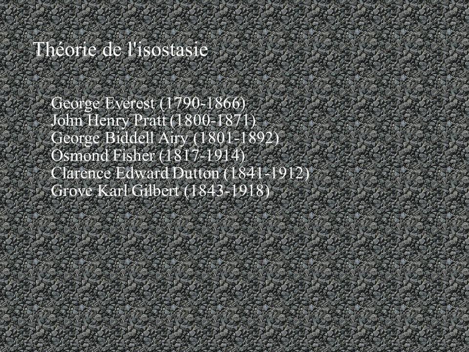 Théorie de l isostasie George Everest (1790-1866) John Henry Pratt (1800-1871) George Biddell Airy (1801-1892) Osmond Fisher (1817-1914) Clarence Edward Dutton (1841-1912) Grove Karl Gilbert (1843-1918)