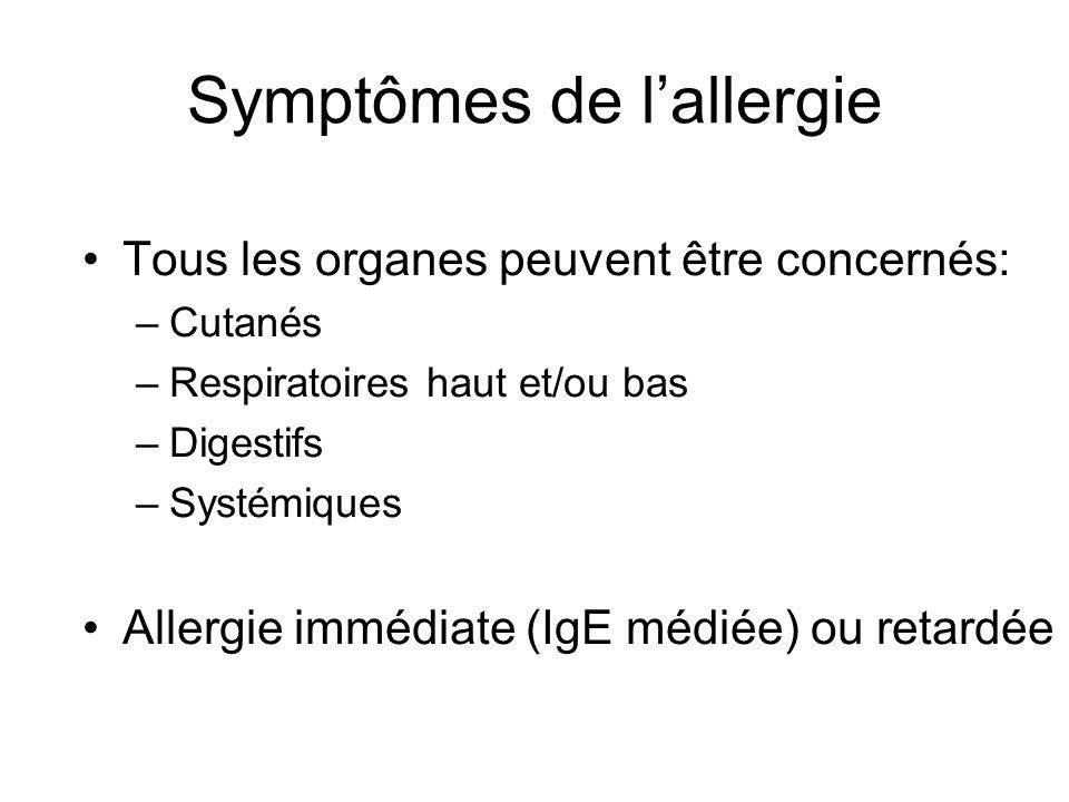 Symptômes de lallergie Tous les organes peuvent être concernés: –Cutanés –Respiratoires haut et/ou bas –Digestifs –Systémiques Allergie immédiate (IgE médiée) ou retardée