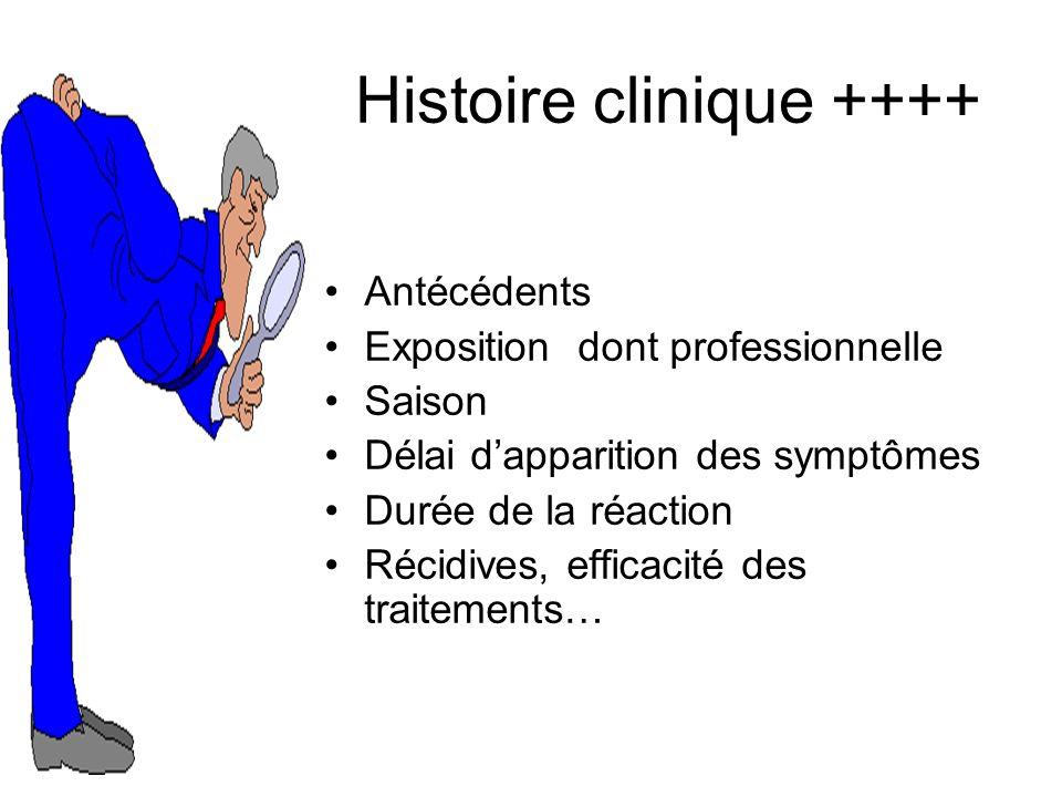 Antécédents Exposition dont professionnelle Saison Délai dapparition des symptômes Durée de la réaction Récidives, efficacité des traitements… Histoire clinique ++++