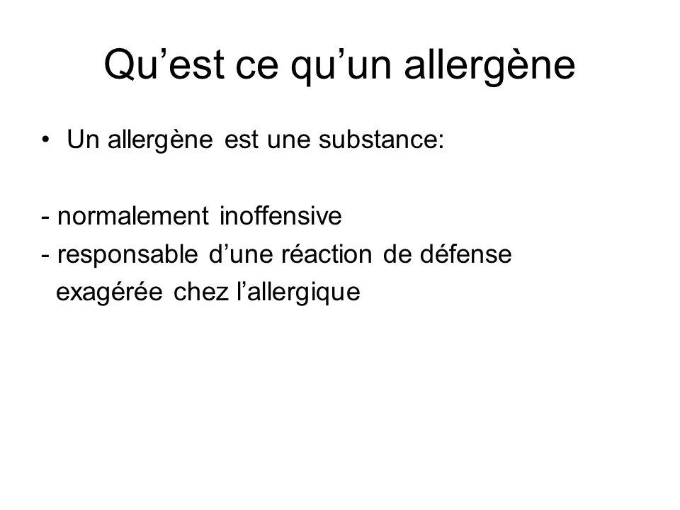 Quest ce quun allergène Un allergène est une substance: - normalement inoffensive - responsable dune réaction de défense exagérée chez lallergique