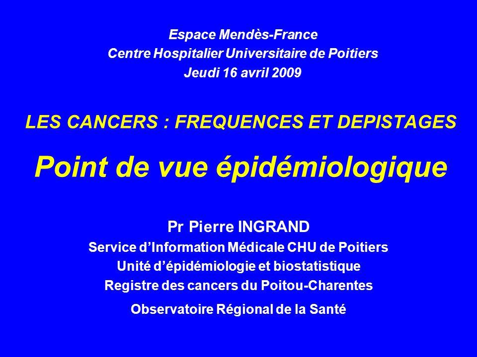 LES CANCERS : FREQUENCES ET DEPISTAGES Point de vue épidémiologique Pr Pierre INGRAND Service dInformation Médicale CHU de Poitiers Unité dépidémiolog
