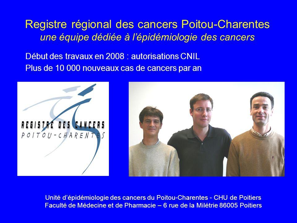 Registre régional des cancers Poitou-Charentes une équipe dédiée à lépidémiologie des cancers Début des travaux en 2008 : autorisations CNIL Plus de 1
