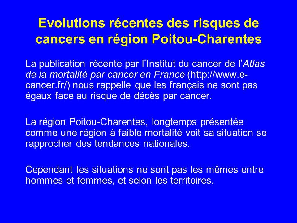 Evolutions récentes des risques de cancers en région Poitou-Charentes La publication récente par lInstitut du cancer de lAtlas de la mortalité par can