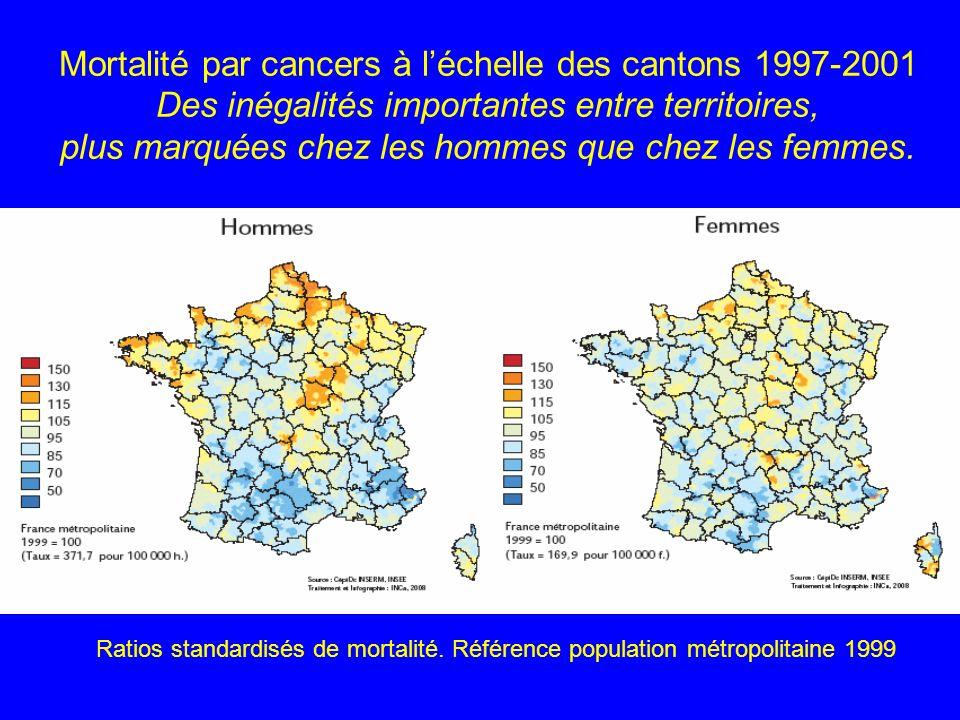 Mortalité par cancers à léchelle des cantons 1997-2001 Des inégalités importantes entre territoires, plus marquées chez les hommes que chez les femmes