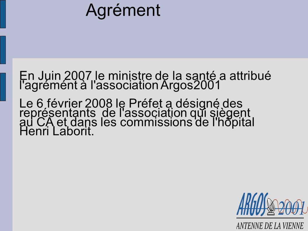 Agrément En Juin 2007 le ministre de la santé a attribué l'agrémént à l'association Argos2001 Le 6 février 2008 le Préfet a désigné des représentants