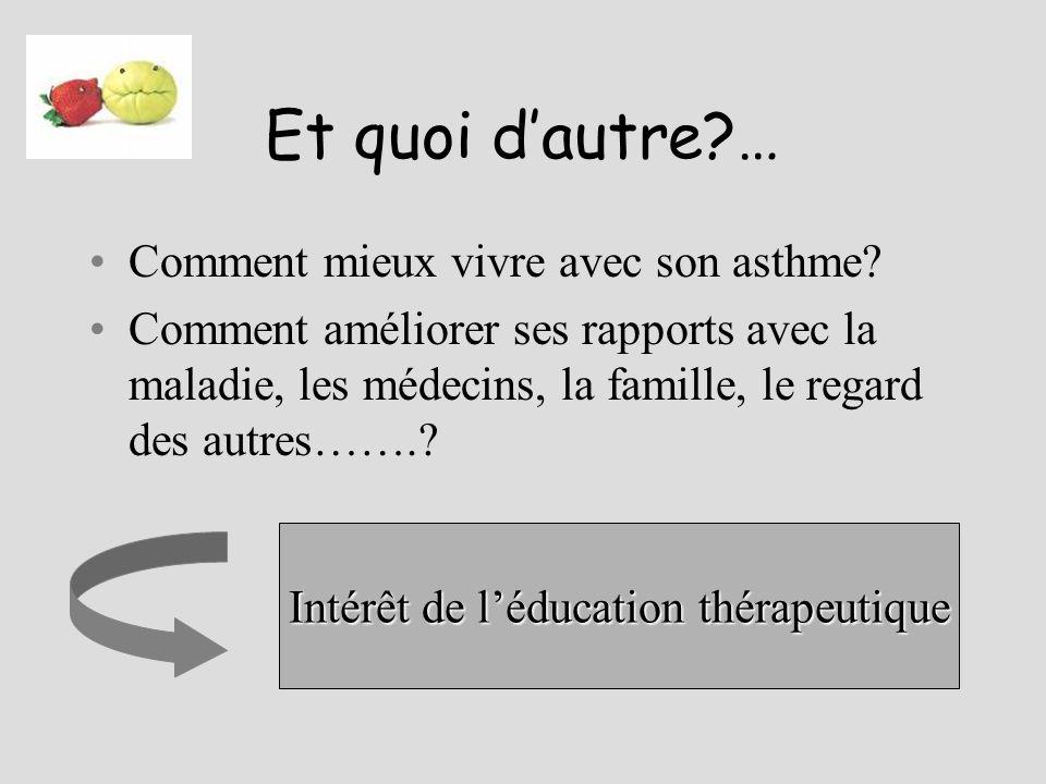 Et quoi dautre?… Comment mieux vivre avec son asthme? Comment améliorer ses rapports avec la maladie, les médecins, la famille, le regard des autres……