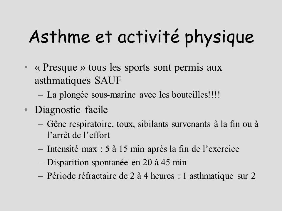 Asthme et activité physique « Presque » tous les sports sont permis aux asthmatiques SAUF –La plongée sous-marine avec les bouteilles!!!! Diagnostic f