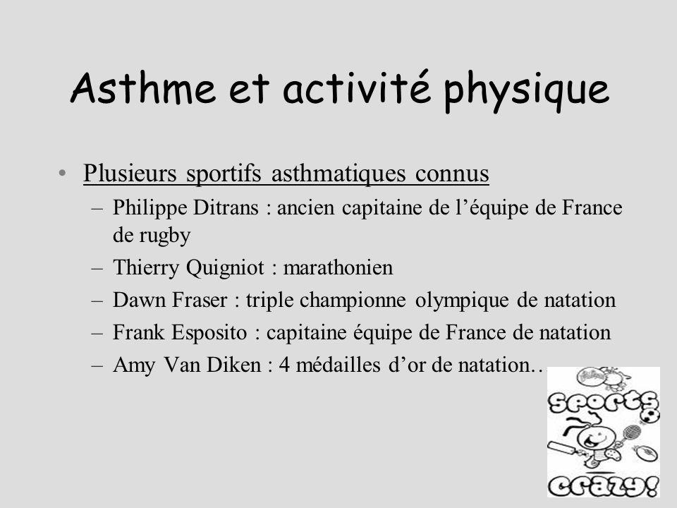 Asthme et activité physique Plusieurs sportifs asthmatiques connus –Philippe Ditrans : ancien capitaine de léquipe de France de rugby –Thierry Quignio