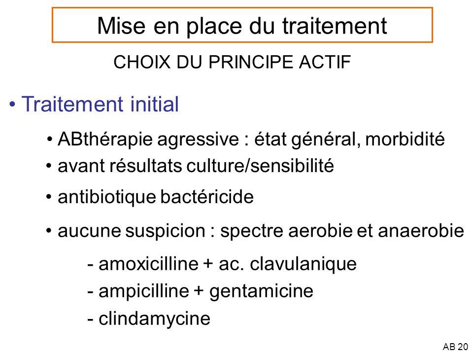AB 21 CHOIX DU PRINCIPE ACTIF Traitement définitif résultats culture/sensibilité voie orale possible Mise en place du traitement