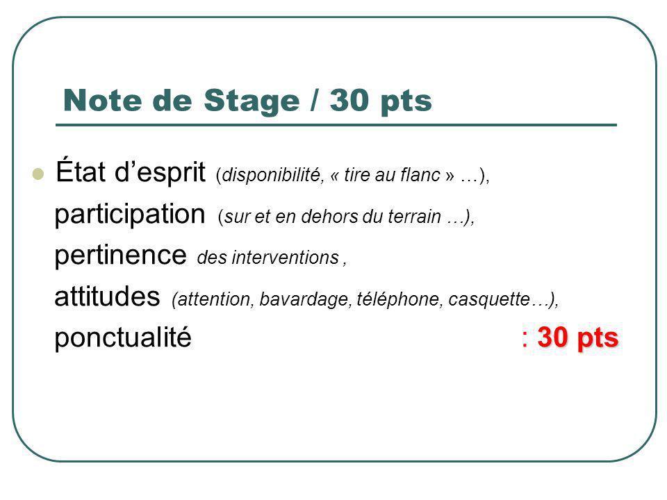 Note de Stage / 30 pts État desprit (disponibilité, « tire au flanc » …), participation (sur et en dehors du terrain …), pertinence des interventions,