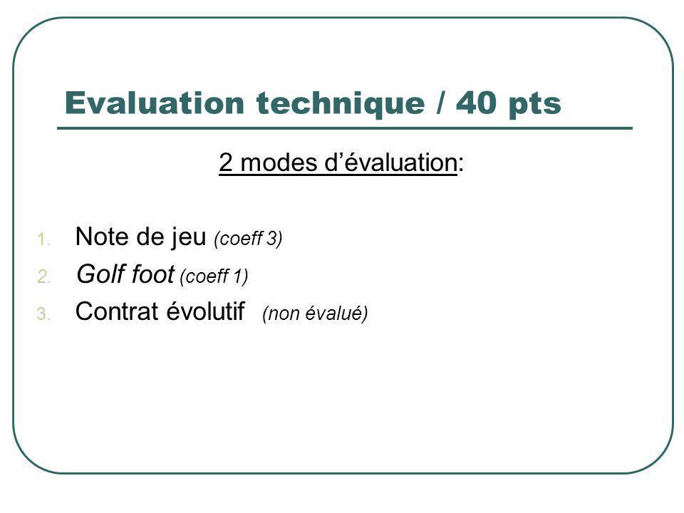 Evaluation technique / 40 pts 2 modes dévaluation: 1. Note de jeu (coeff 3) 2. Golf foot (coeff 1) 3. Contrat évolutif (non évalué)