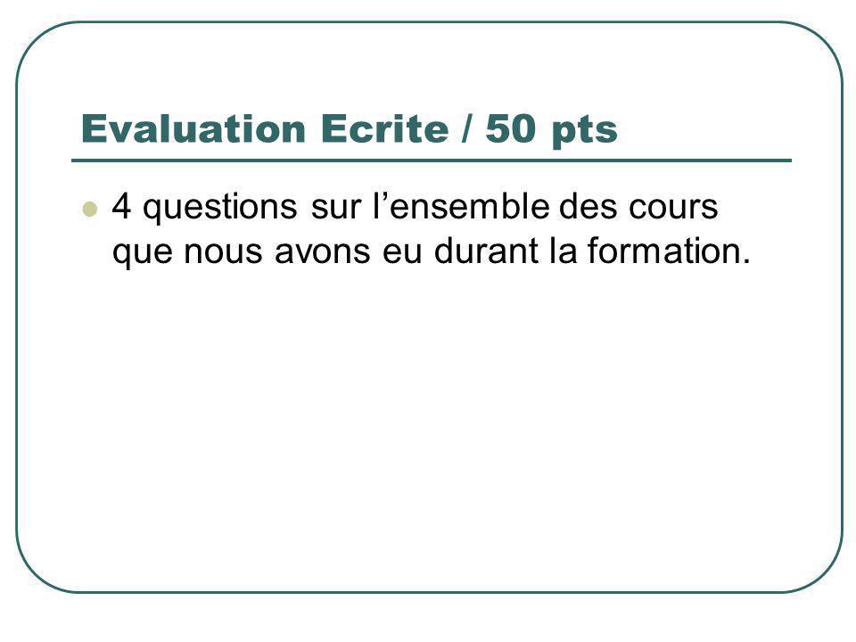 Evaluation Ecrite / 50 pts 4 questions sur lensemble des cours que nous avons eu durant la formation.