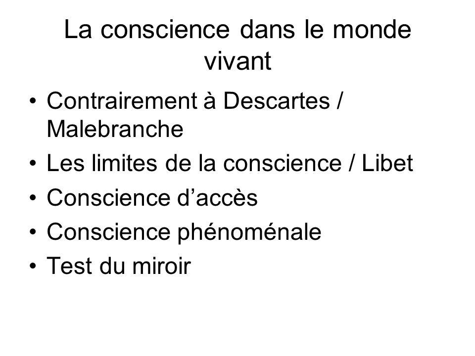 La conscience dans le monde vivant Contrairement à Descartes / Malebranche Les limites de la conscience / Libet Conscience daccès Conscience phénoména