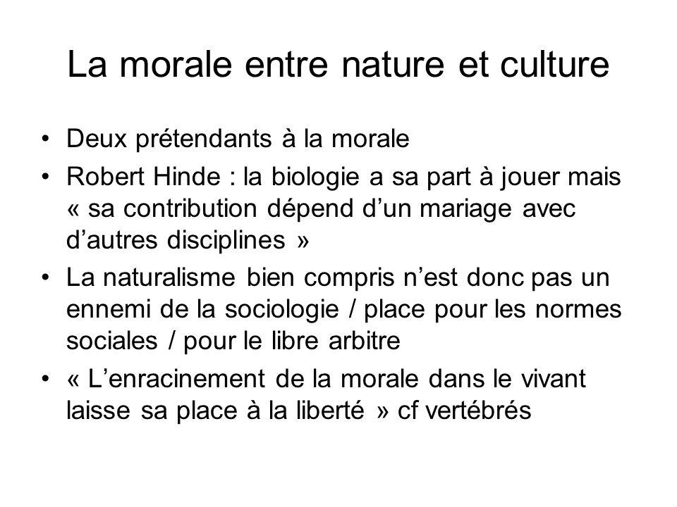 La morale entre nature et culture Deux prétendants à la morale Robert Hinde : la biologie a sa part à jouer mais « sa contribution dépend dun mariage