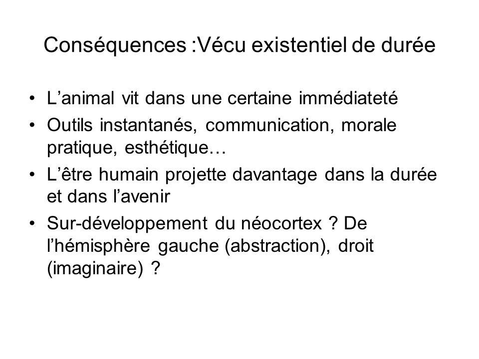 Conséquences :Vécu existentiel de durée Lanimal vit dans une certaine immédiateté Outils instantanés, communication, morale pratique, esthétique… Lêtr