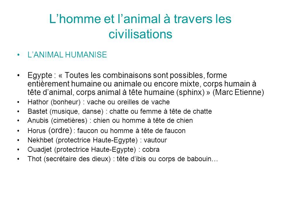 Lhomme et lanimal à travers les civilisations LANIMAL HUMANISE Egypte : « Toutes les combinaisons sont possibles, forme entièrement humaine ou animale