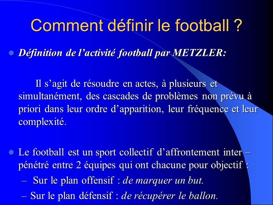 Comment définir le football ? Définition de lactivité football par METZLER: Définition de lactivité football par METZLER: Il sagit de résoudre en acte