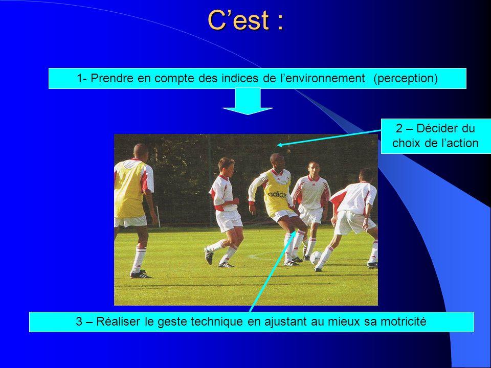 Cest : 1- Prendre en compte des indices de lenvironnement (perception) 2 – Décider du choix de laction 3 – Réaliser le geste technique en ajustant au
