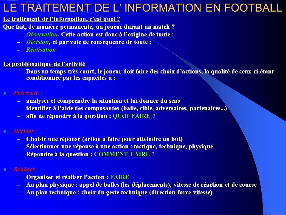 LE TRAITEMENT DE L INFORMATION EN FOOTBALL Le traitement de linformation, cest quoi .