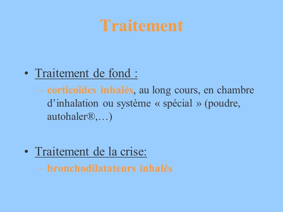 Traitement Traitement de fond : –corticoïdes inhalés, au long cours, en chambre dinhalation ou système « spécial » (poudre, autohaler®,…) Traitement d