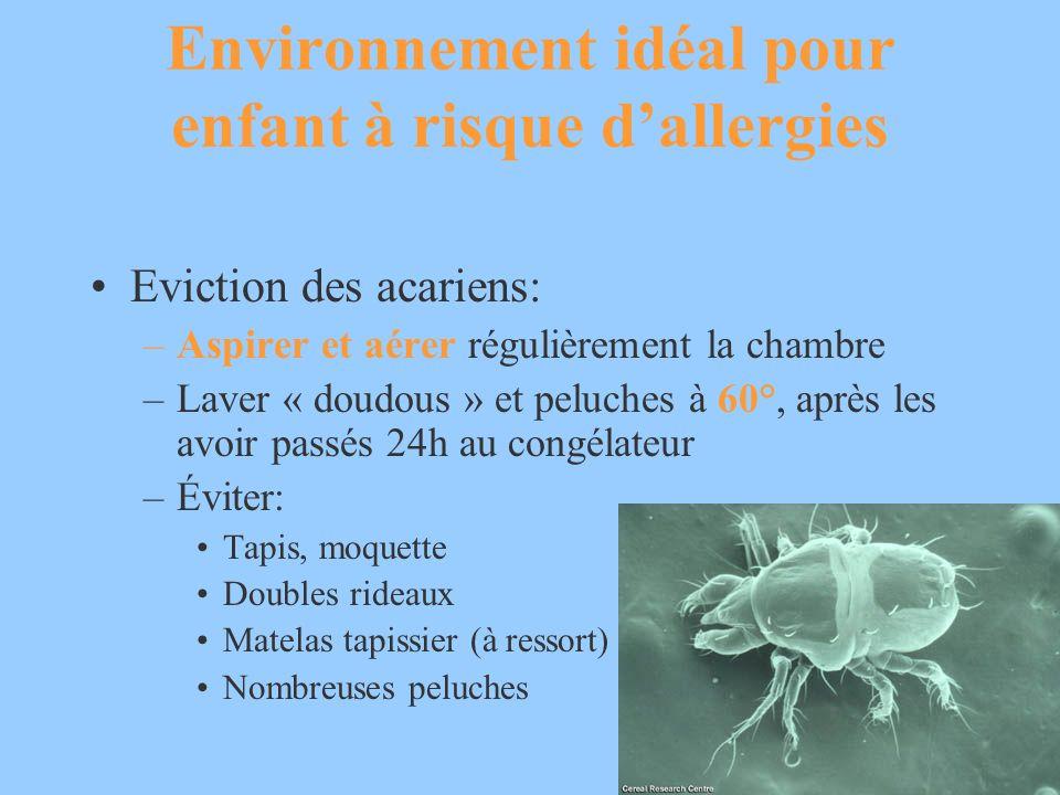 Environnement idéal pour enfant à risque dallergies Eviction des acariens: –Aspirer et aérer régulièrement la chambre –Laver « doudous » et peluches à