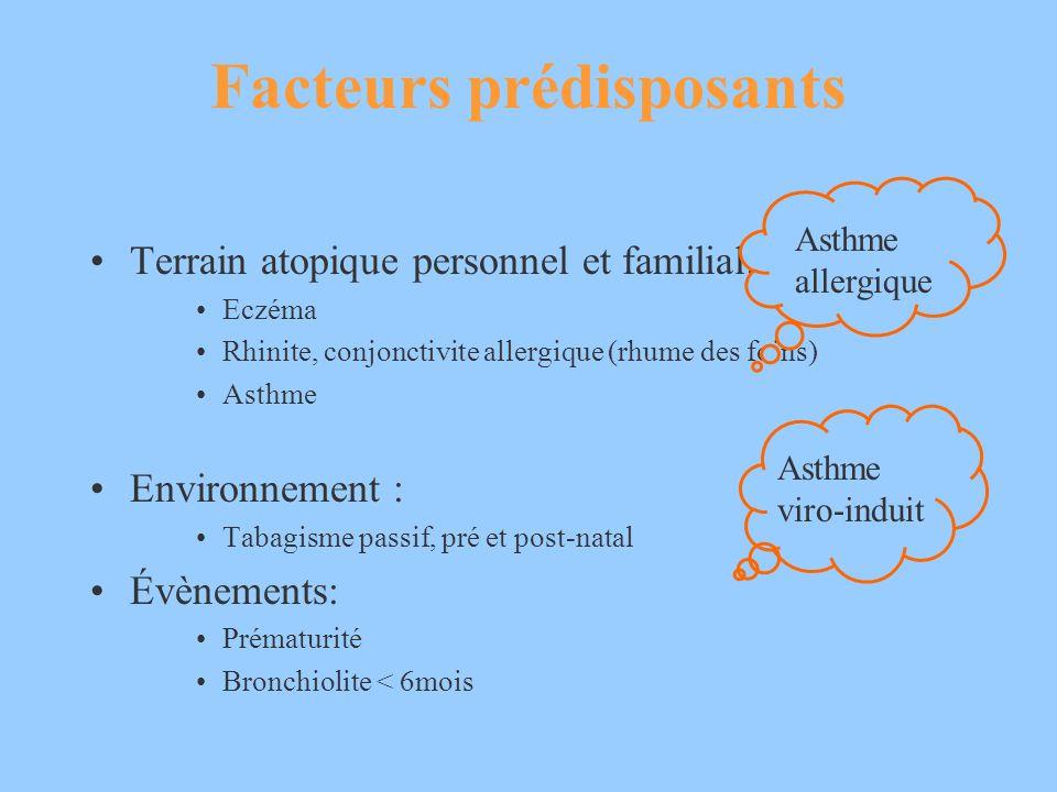 Facteurs prédisposants Terrain atopique personnel et familial: Eczéma Rhinite, conjonctivite allergique (rhume des foins) Asthme Environnement : Tabag