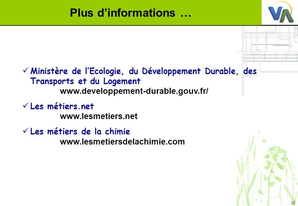 22 Plus dinformations … Ministère de lEcologie, du Développement Durable, des Transports et du Logement www.developpement-durable.gouv.fr/ Les métiers
