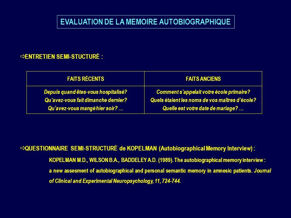 ENTRETIEN SEMI-STUCTURÉ : QUESTIONNAIRE SEMI-STRUCTURÉ de KOPELMAN (Autobiographical Memory Interview) : KOPELMAN M.D., WILSON B.A., BADDELEY A.D. (19