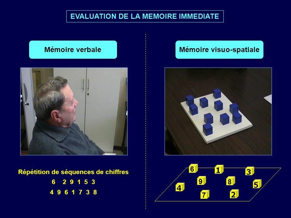 9 8 2 7 6 1 4 3 5 Répétition de séquences de chiffres 62 9 1 5 3 4 9 6 1 7 3 8 EVALUATION DE LA MEMOIRE IMMEDIATE Mémoire verbaleMémoire visuo-spatial