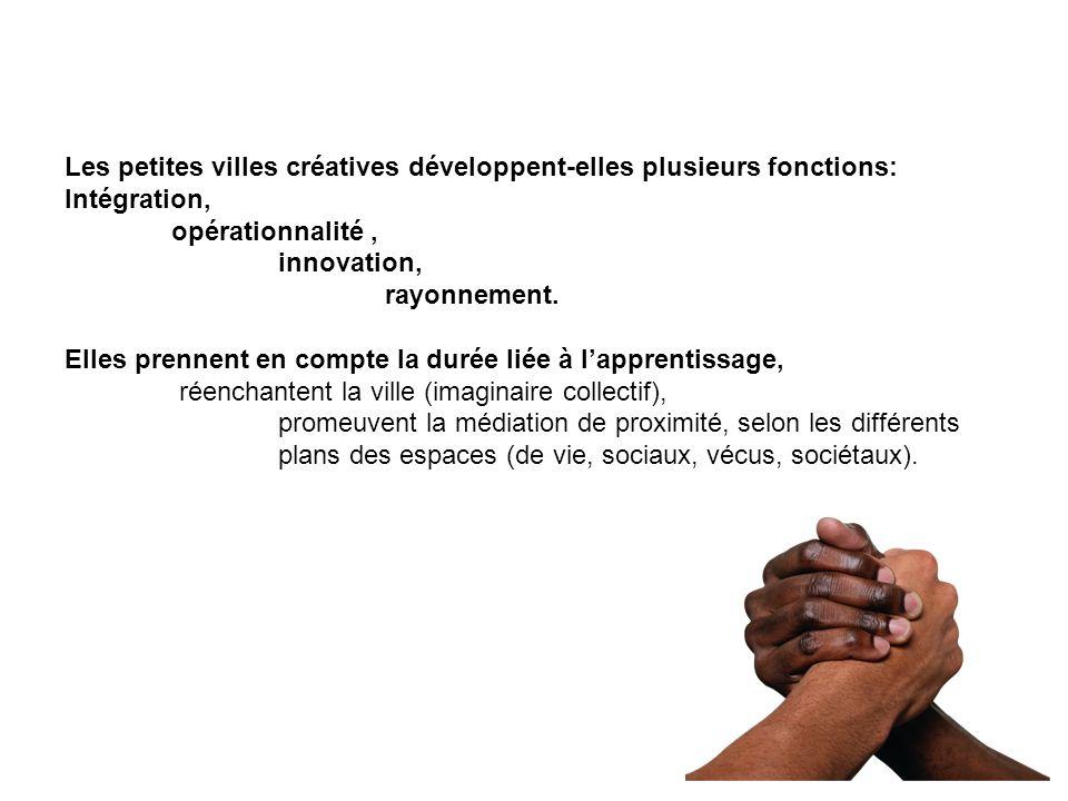 Les petites villes créatives développent-elles plusieurs fonctions: Intégration, opérationnalité, innovation, rayonnement. Elles prennent en compte la