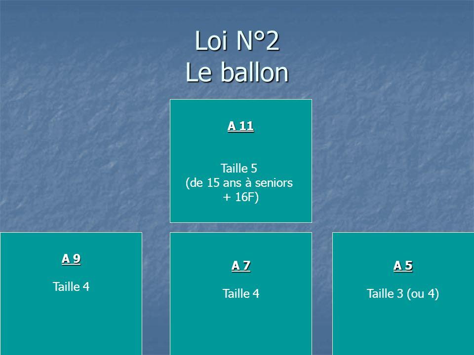 Loi N°2 Le ballon A 11 Taille 5 (de 15 ans à seniors + 16F) A 5 Taille 3 (ou 4) A 9 Taille 4 A 7 Taille 4