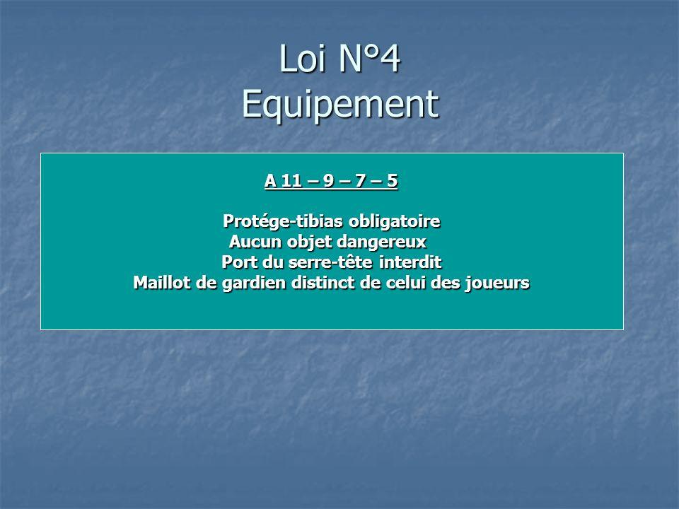 Loi N°4 Equipement A 11 – 9 – 7 – 5 Protége-tibias obligatoire Aucun objet dangereux Port du serre-tête interdit Maillot de gardien distinct de celui