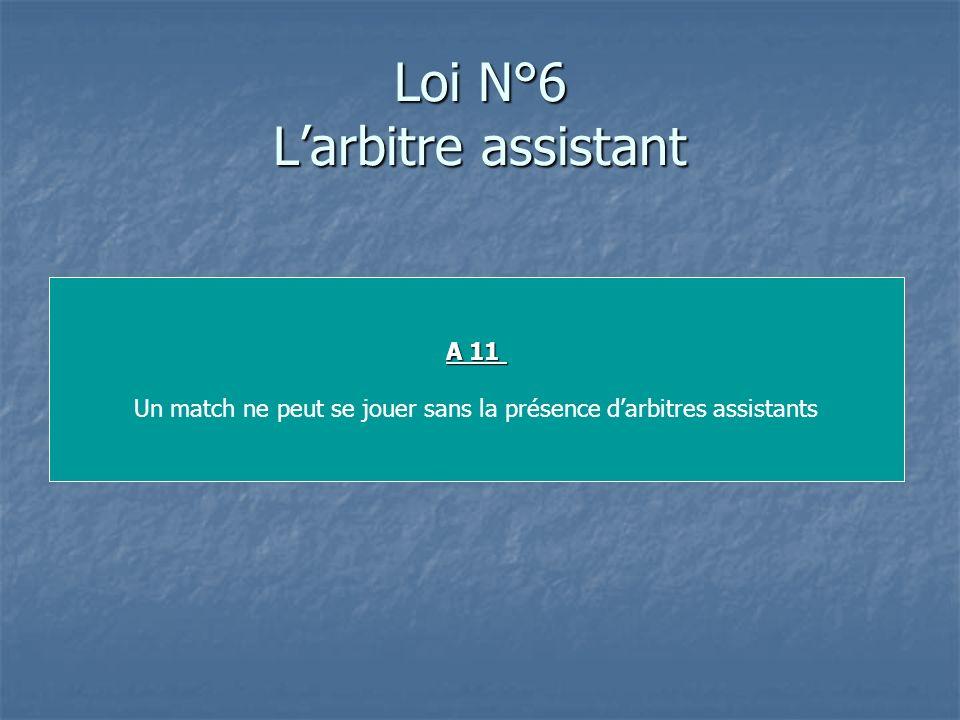 Loi N°6 Larbitre assistant A 11 Un match ne peut se jouer sans la présence darbitres assistants