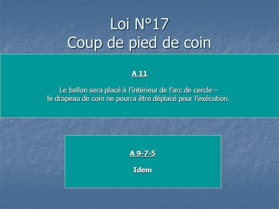 Loi N°17 Coup de pied de coin A 11 Le ballon sera placé à lintérieur de larc de cercle – le drapeau de coin ne pourra être déplacé pour lexécution. A