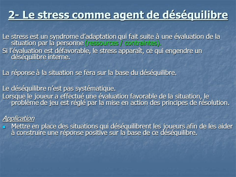 2- Le stress comme agent de déséquilibre Le stress est un syndrome dadaptation qui fait suite à une évaluation de la situation par la personne (ressou
