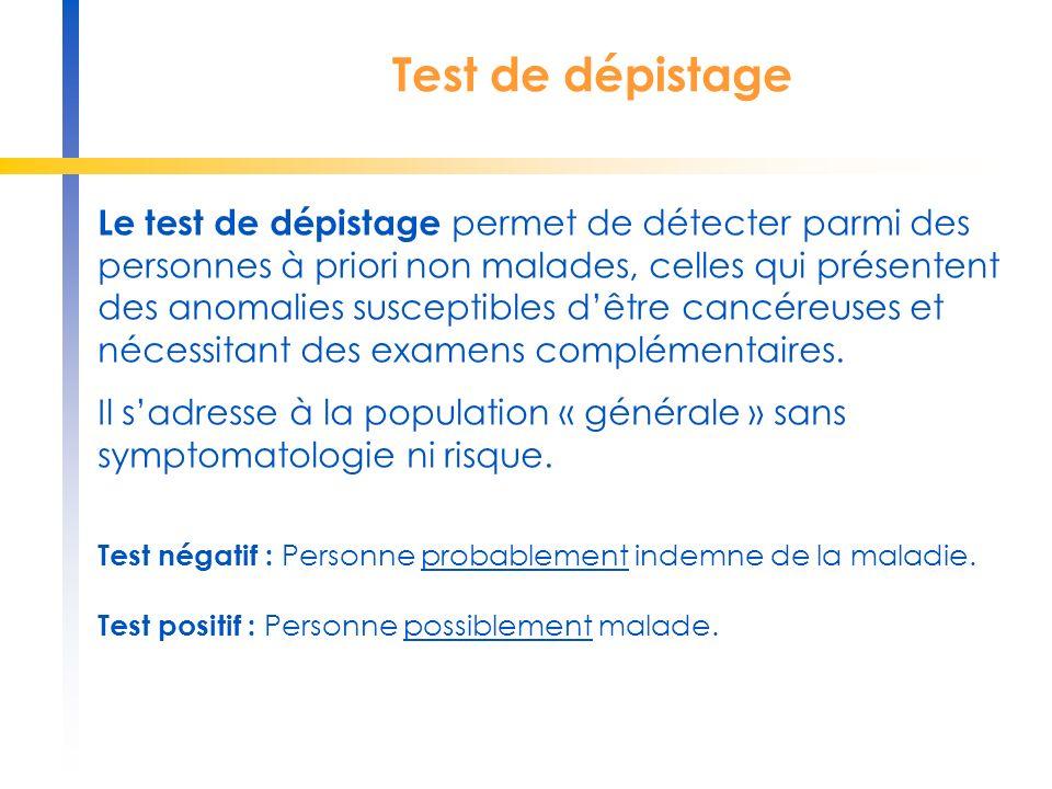 Examen diagnostique L examen diagnostique permet de détecter parmi les personnes ayant un test de dépistage positif, ou présentant une symptomatologie ou des facteurs de risque, celles qui ont réellement la maladie.
