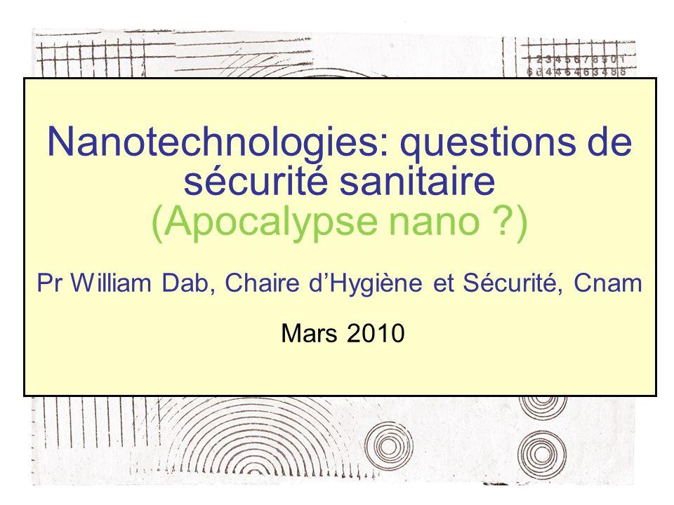 Nanotechnologies: questions de sécurité sanitaire (Apocalypse nano ?) Pr William Dab, Chaire dHygiène et Sécurité, Cnam Mars 2010